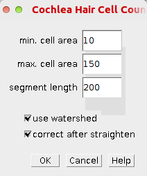 The options dialog of teh count hair cells tool